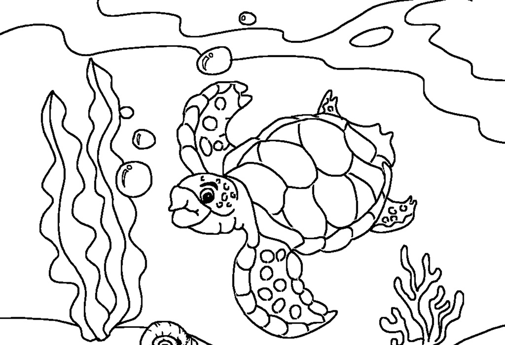 Drawn sea turtle colouring picture Underwater underwater Turtle coloring pages