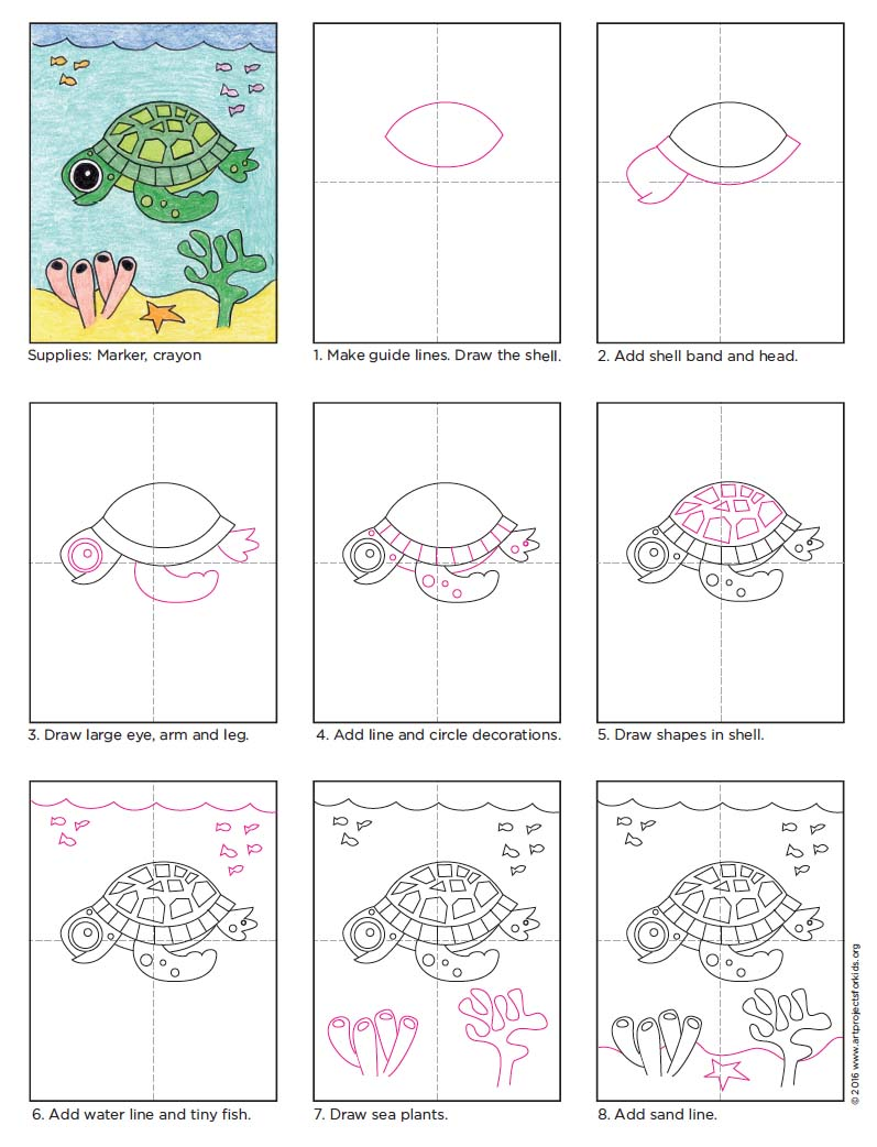 Drawn sea turtle underwate animal Diagram Draw Draw Turtle Kids