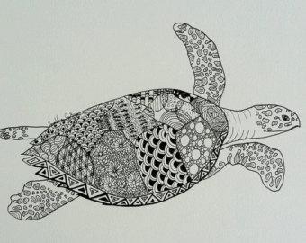 Drawn sea turtle pattern Ink Original OR Turtle Art