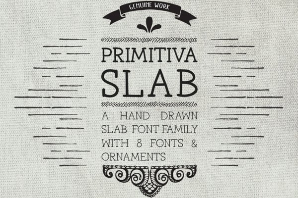 Drawn typeface For Primitiva weights Slab modern