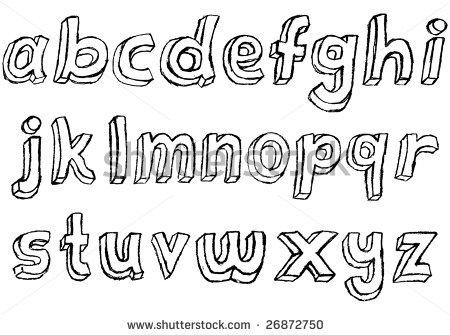 Drawn typeface 3d bubble letter Alphabet alphabet Hand+Block+Lettering+Font lowercase lowercase