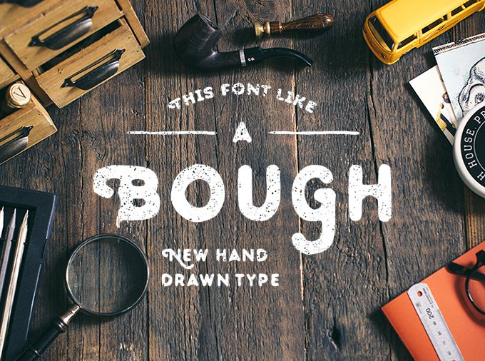 Drawn typeface Hand and free 20 font