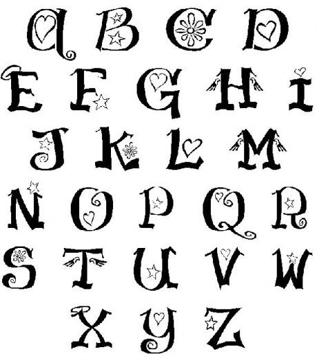 Drawn typeface abc letter different Abc and Letters Pin Type