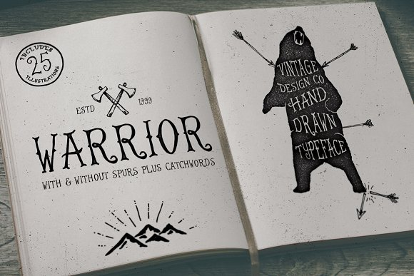 Drawn typeface artistic On Typeface Serif Warrior Warrior