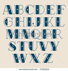 Drawn typeface block Uppercase print Art Juvenile Alphabet