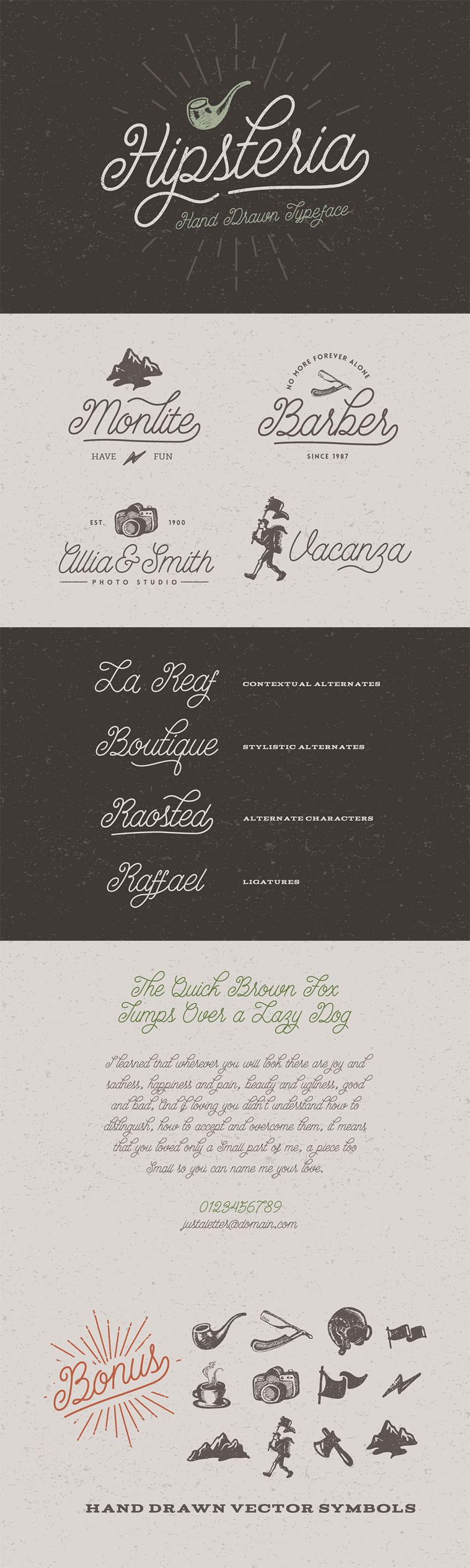 Drawn typeface hipsteria Prada 4 $20 Fonts Script