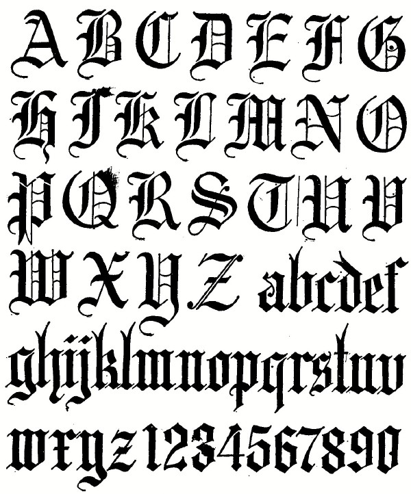 Drawn typeface old english 5 gótica Chapter caligrafia
