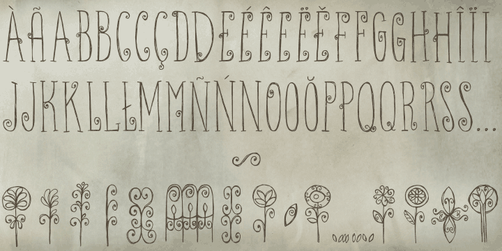 Drawn typeface whimsical Hand PintassilgoPrints your variations alphabet