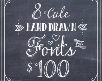 Drawn typeface whimsical Sale Font 8 BUNDLE French