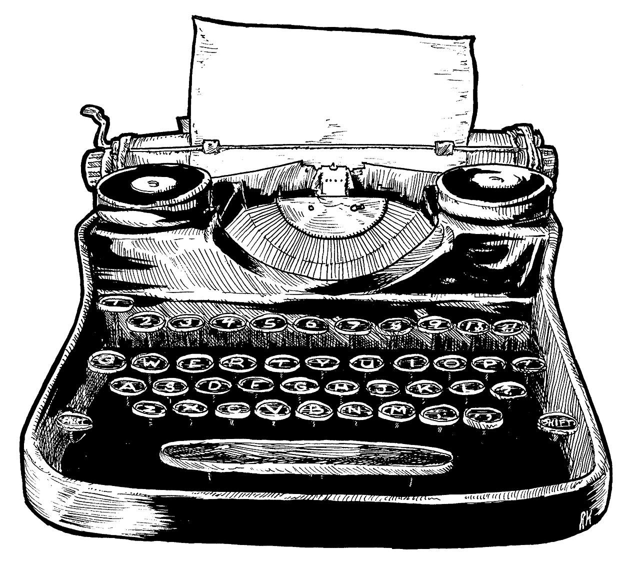 Drawn typewriter Royal Crafthubs Typewriter Drawing Typewriter