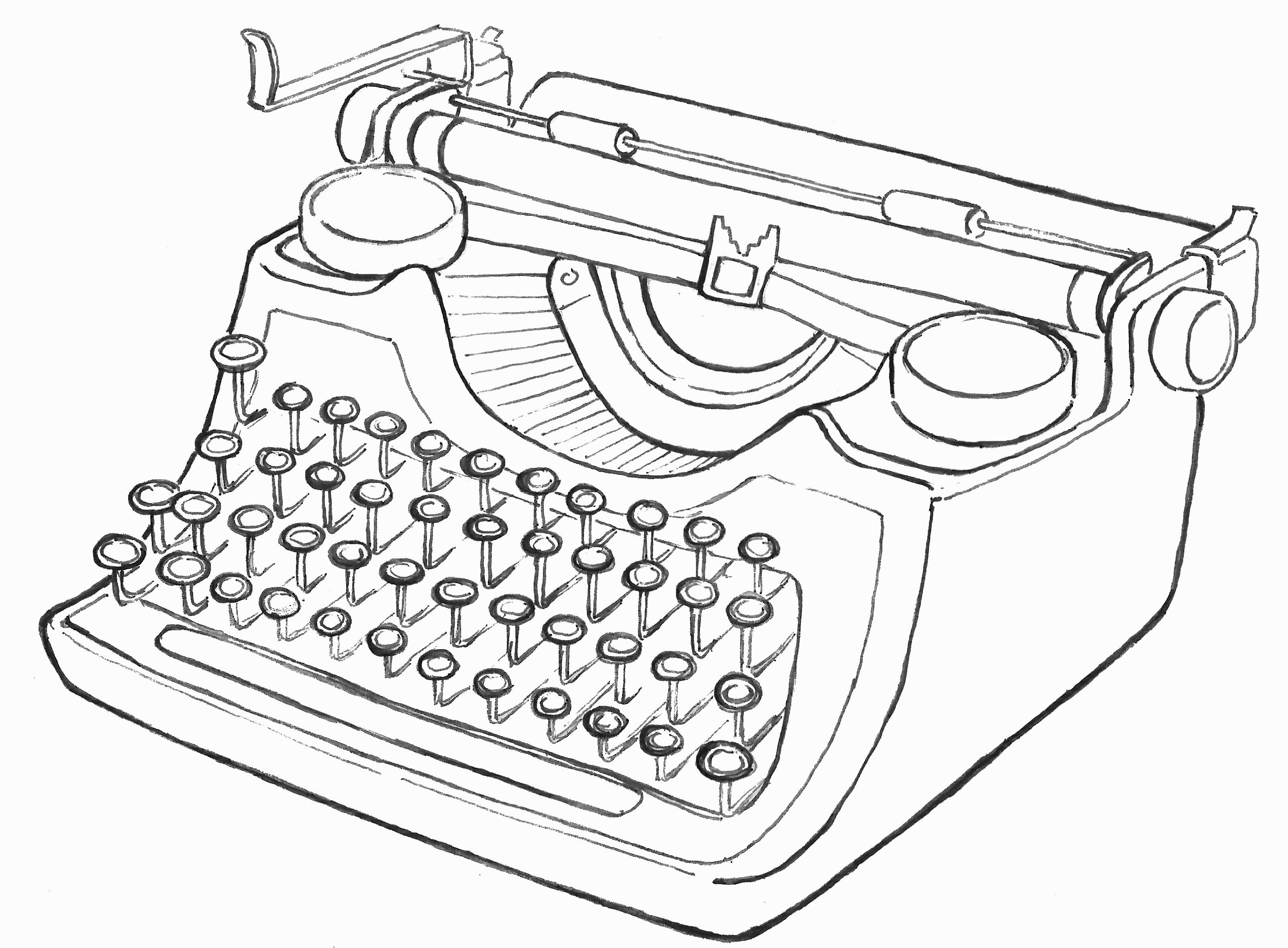 Drawn typewriter Typewriters Illustration Typewriter line Pinterest
