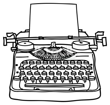 Drawn typewriter first A white picture of fashioned