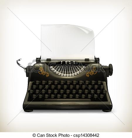 Drawn typewriter clipart Csp14308442 EPS Typewriter vector Clip
