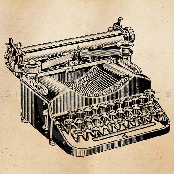 Drawn typewriter clipart Illustration Black Printable Retro Print