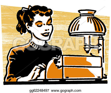Drawn typewriter clipart Young woman woman young a