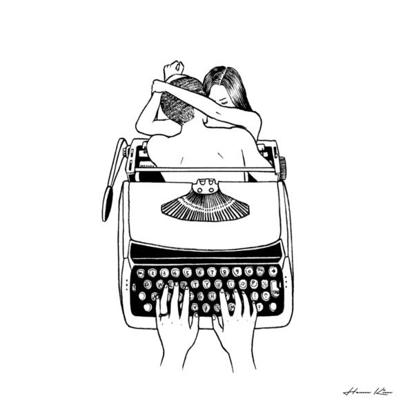 Drawn typewriter first On Typewriters illustrations images 536