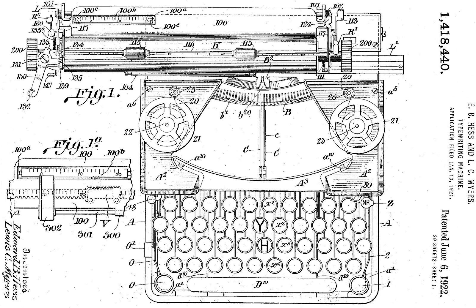 Drawn typewriter first Edward in 1922 Royal that