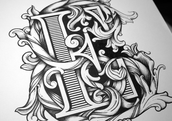 Drawn typography detailed Filled clients piece examples typographic