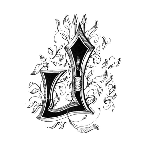 Drawn typography intricate Intricately Victorian Individually Letters With