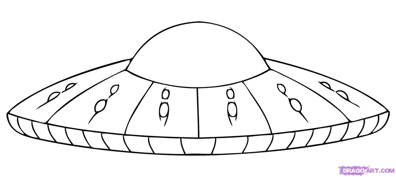 Drawn spaceship simple Sci step How UFO to
