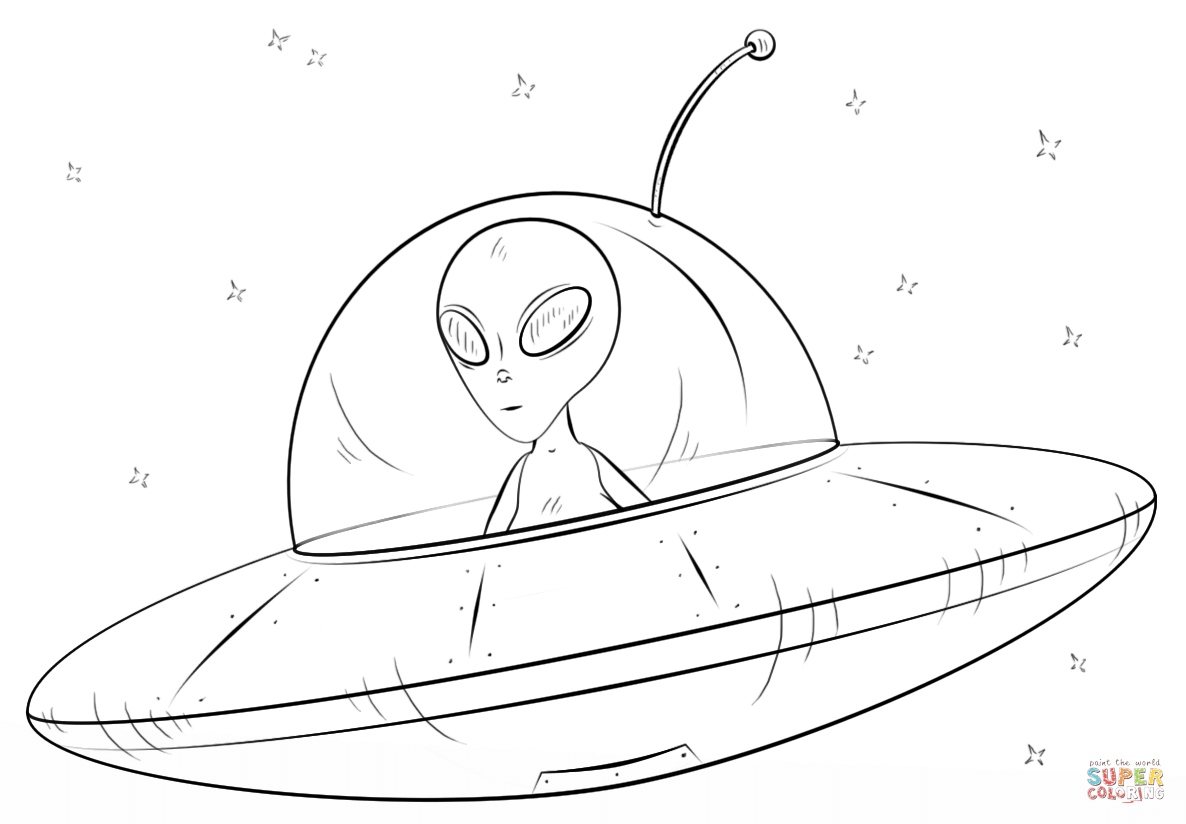 Drawn spaceship alien Flying Flying Books Pages For