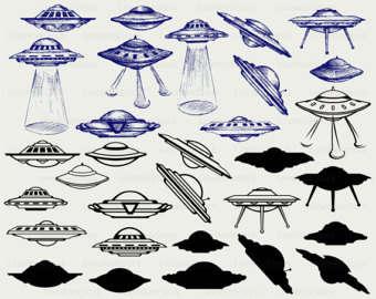 UFO clipart silhouette Saucer clipart flying svg Ufo