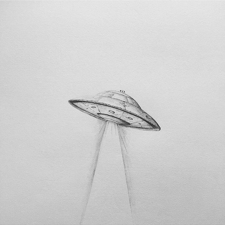 Drawn spaceship alien #spaceship #alien ✌ #ufo #illustration