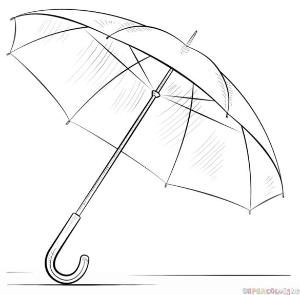 Drawn umbrella Step to draw tutorials for