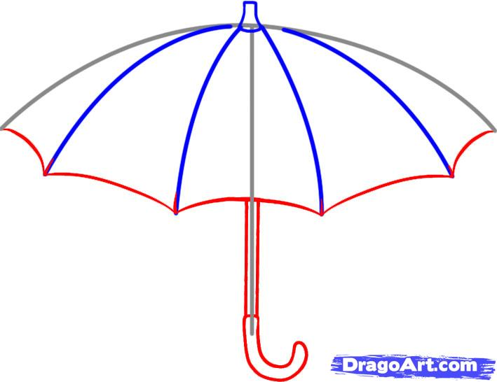 Drawn umbrella cartoon How an umbrella How Step
