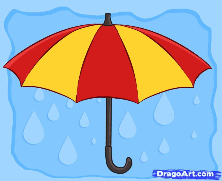 Drawn umbrella cartoon How an umbrella Draw Step
