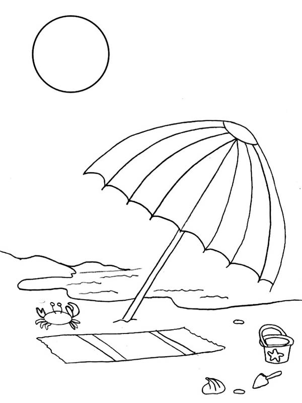Drawn umbrella colouring picture Beach Kids Coloring of Drawing