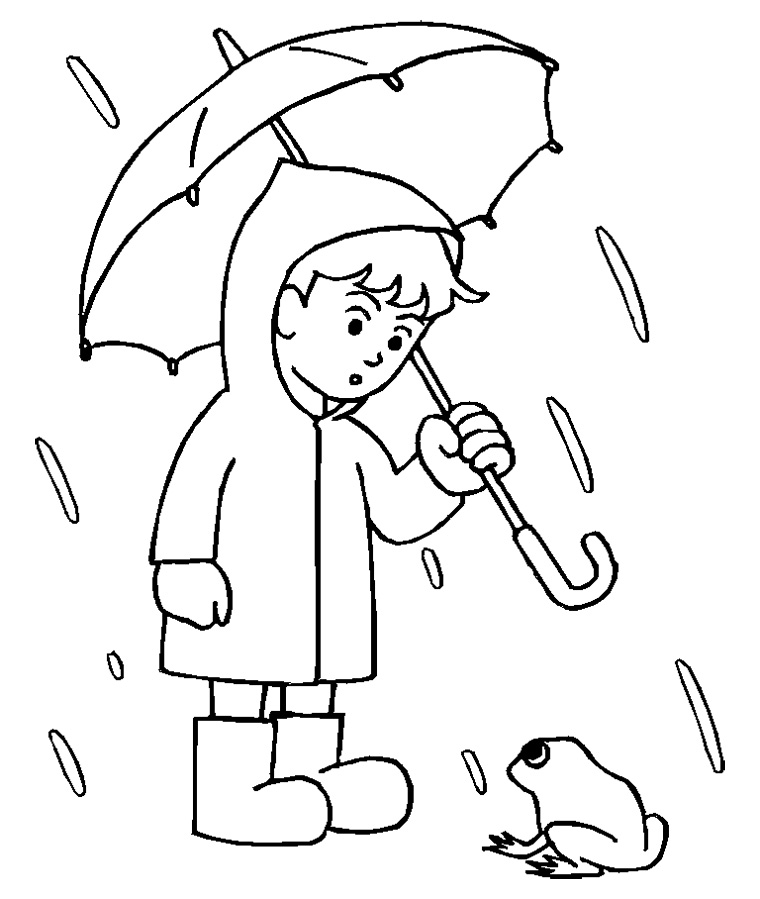 Drawn umbrella colouring picture And With Jacket Umbrella His