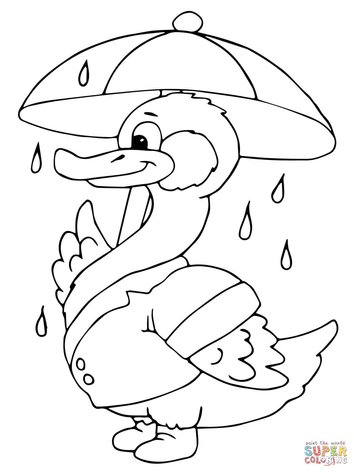 Drawn umbrella colouring picture Under the the Umbrella Duck