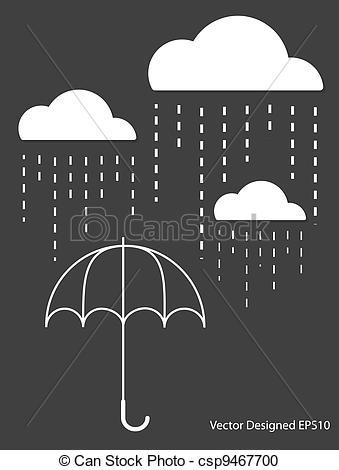 Drawn umbrella raindrop White umbrella on drop White
