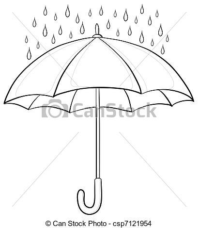 Drawn umbrella raindrop Illustration  contours contours and