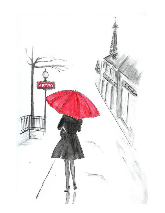 Drawn umbrella Print Red Paris umbrella Paris