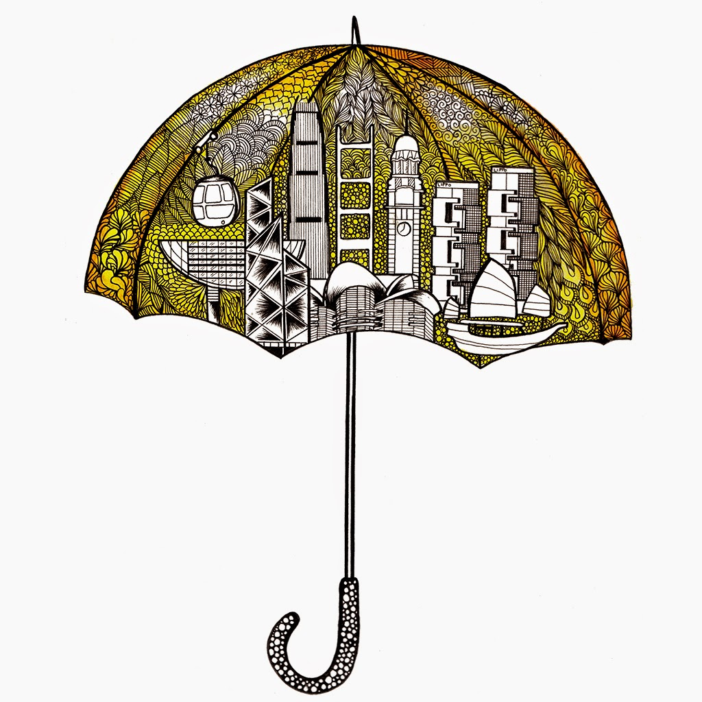 Drawn umbrella yellow umbrella Is show thought Simbie Lines