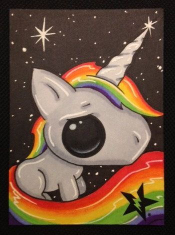 Drawn rainbow unicorn Mini Drawings surrealism ACEO Pinterest