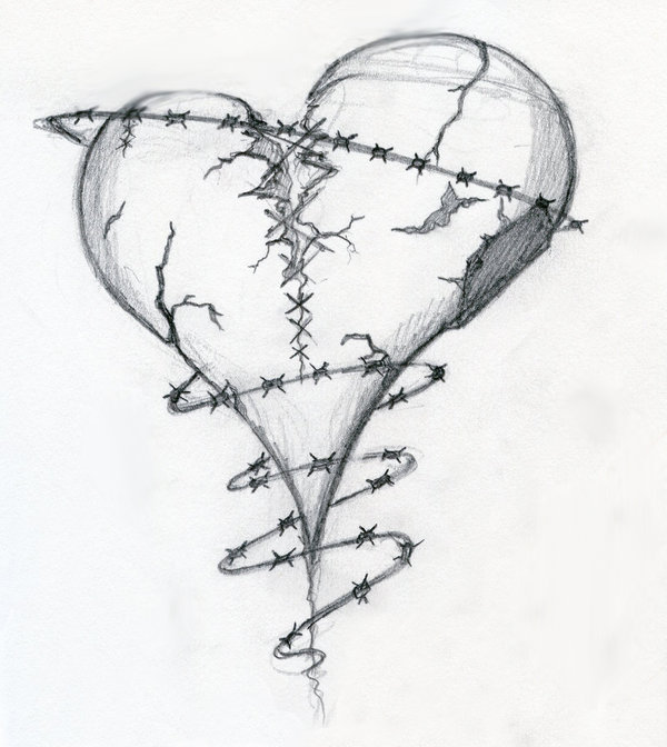 Drawn hearts wounded heart Heart by and  on