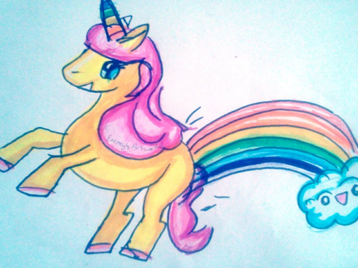 Drawn rainbow unicorn YouTube How rainbows Farting 2