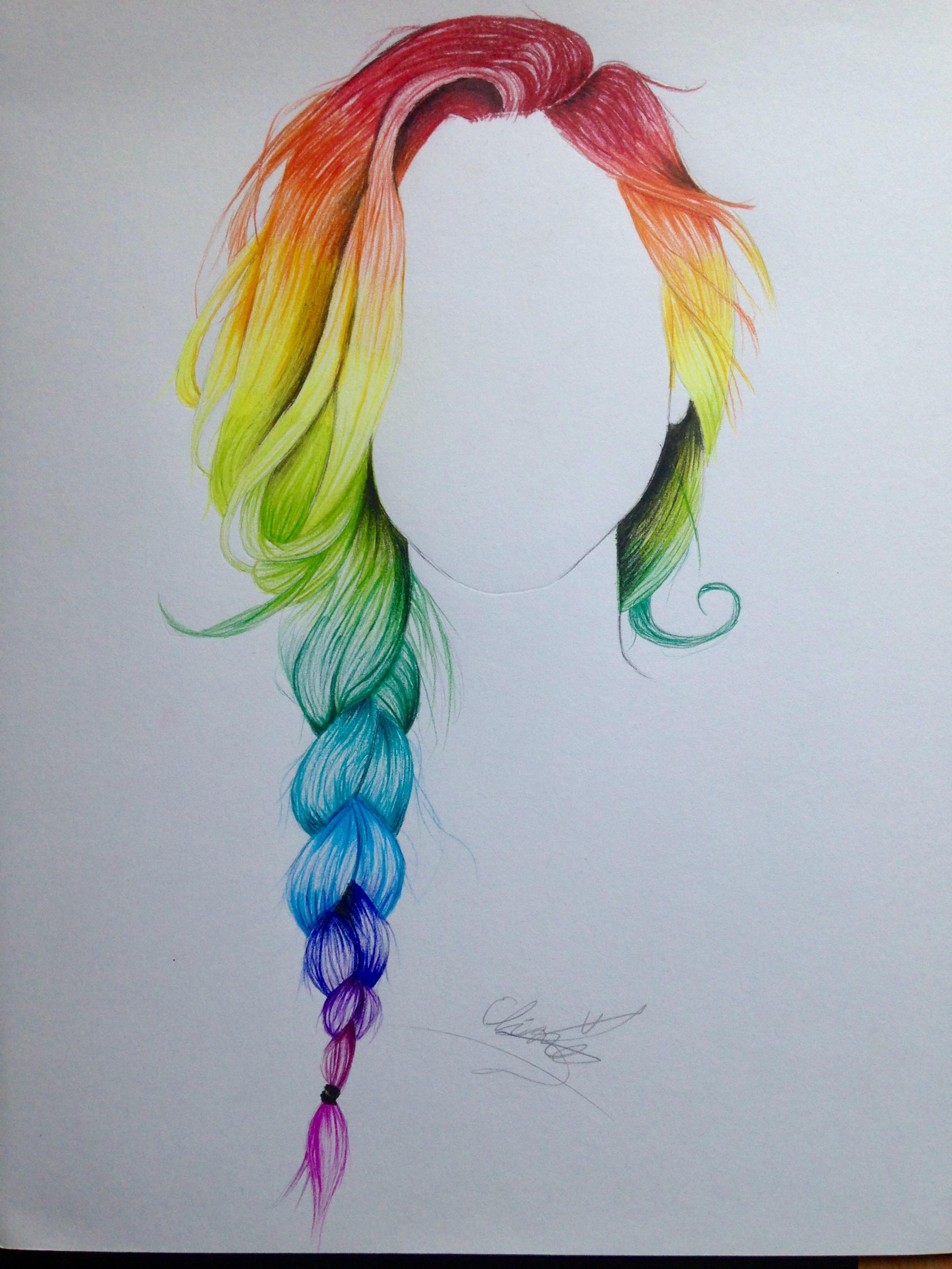 Drawn rainbow blue Braid Rainbow ColorHair:: Hair Pinterest