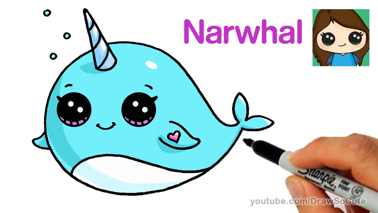 Narwhal clipart mustache drawing A a Cartoon Whale Draw