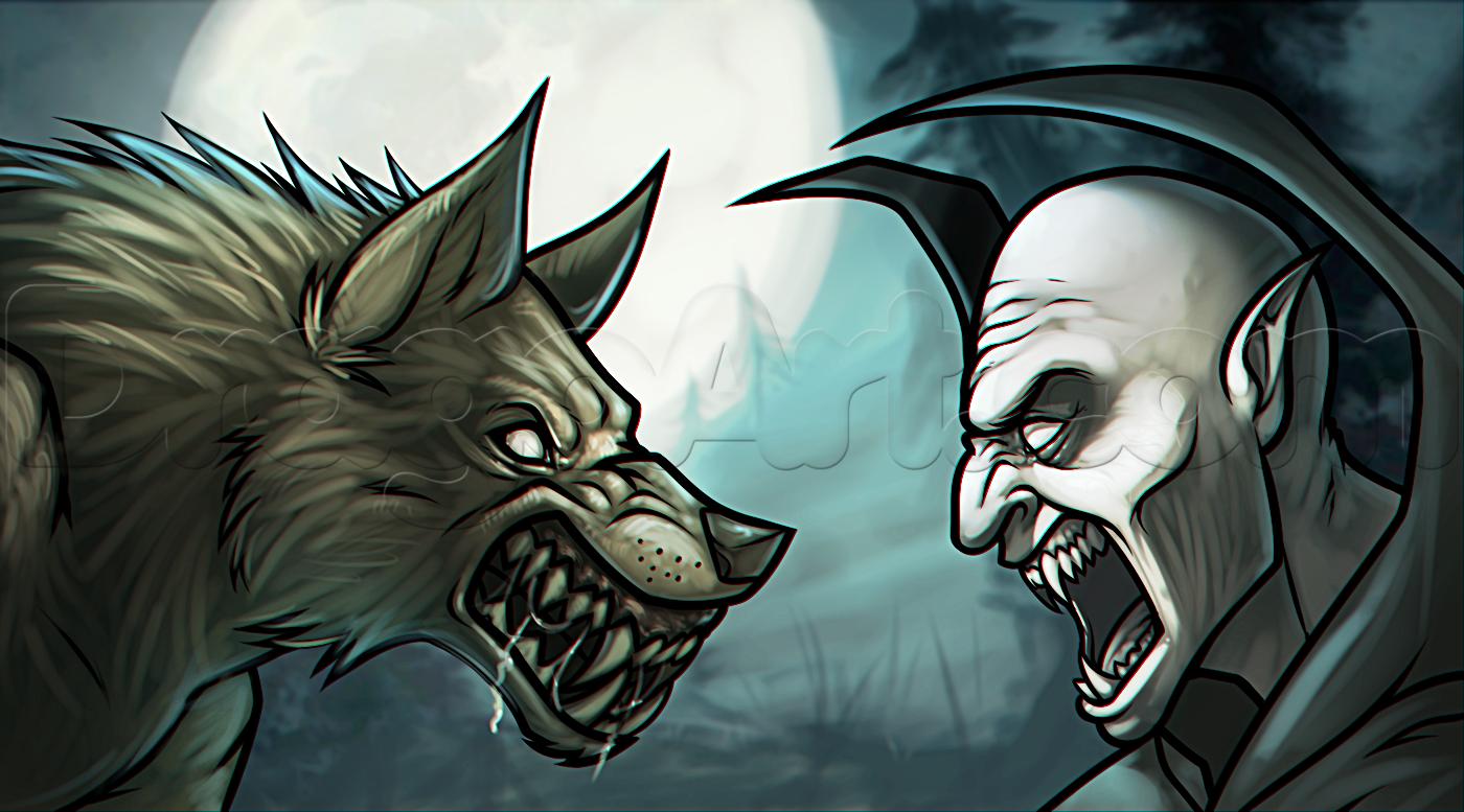 Drawn vampire angry Vs vampire Werewolves a draw