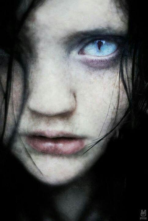 Drawn vampire blue eyed Vampire child eyes  spooky