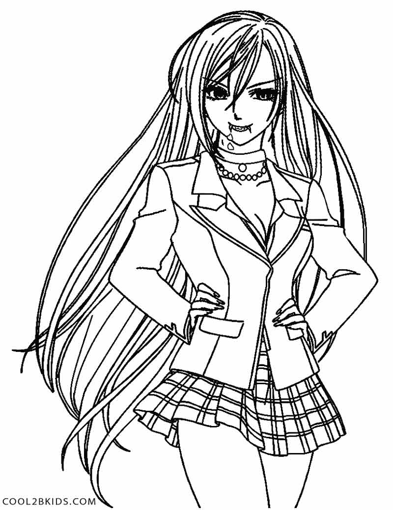 Drawn vampire coloring page Coloring Kids For Anime Vampire