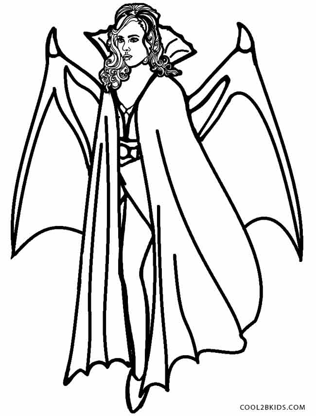 Drawn vampire coloring page Coloring Kids For Girl Vampire