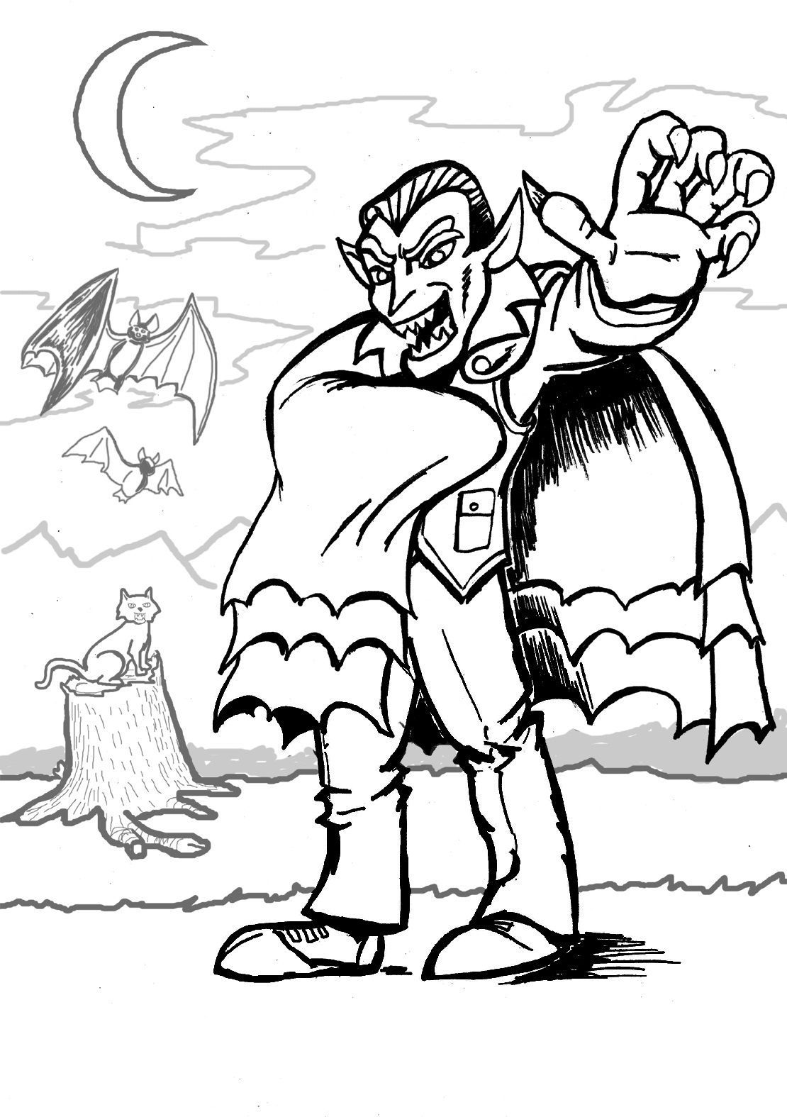 Drawn vampire coloring page Page Kids For Vampire Coloring