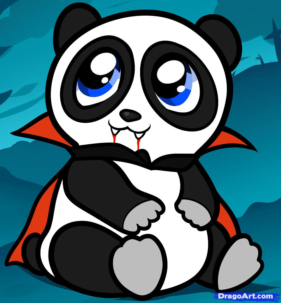 Drawn vampire cute cartoon Halloween halloween draw panda panda