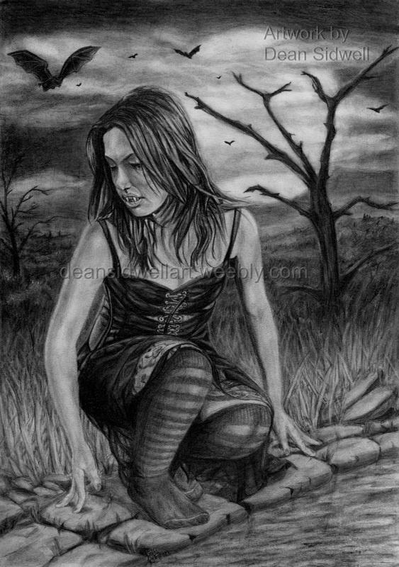 Drawn vampire darkness Full the background 42 crouching