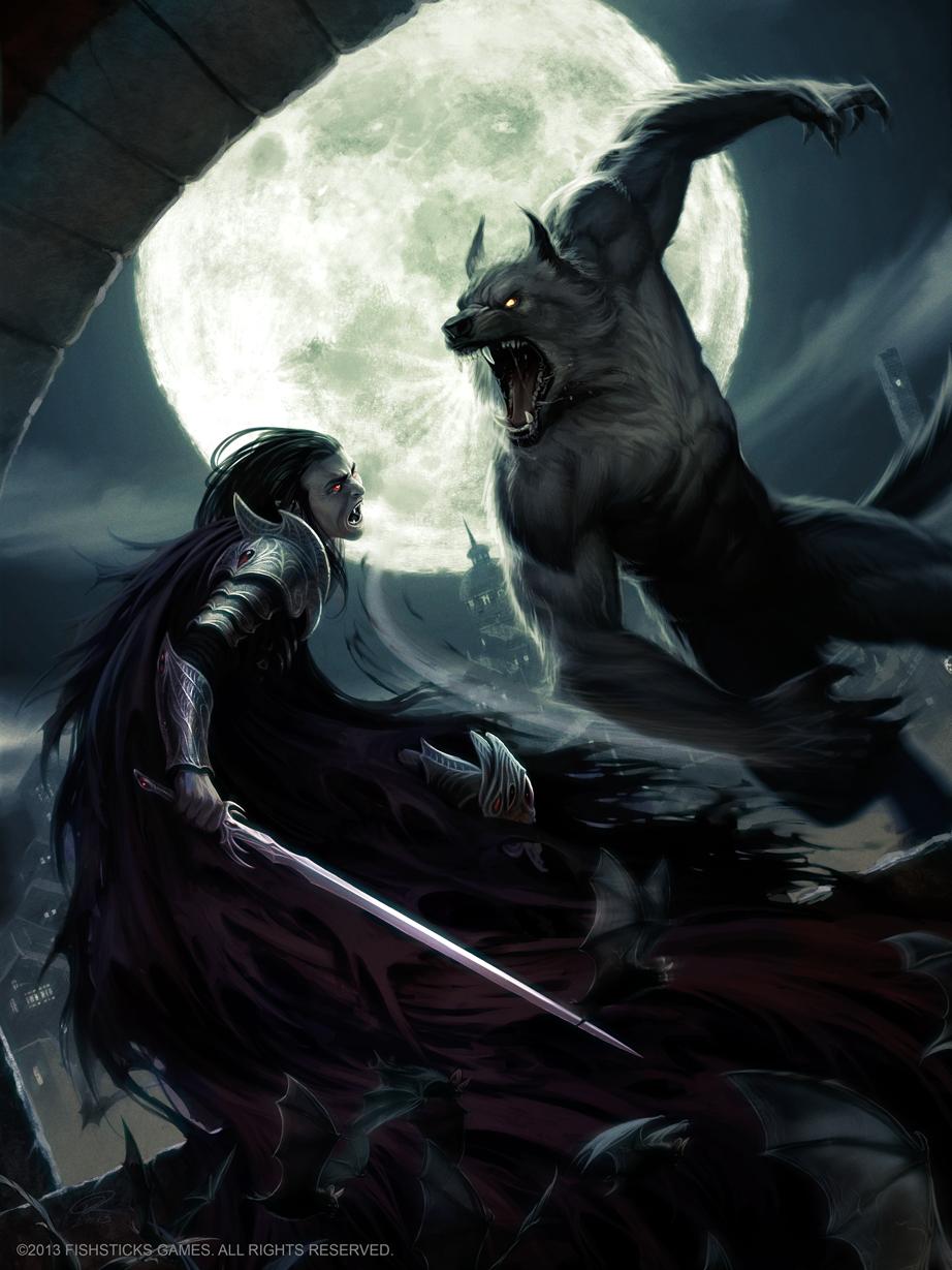 Drawn vampire monster Akeiron  on Lycan Akeiron